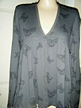 OLD NAVY GRAY COTTON KNIT HOODED LONG SLEEVE TOP SIZE JR L - $15.47