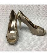 Alfani Open Toed High Heel, w/ Gold Glitter, Womens 8.5M - $10.39