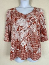Liz & Co Womens Plus Size 1X Red Floral Geometric Pattern Blouse 3/4 Sleeve - $19.80