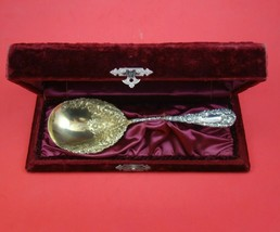 "Chrysanthemum by Durgin Sterling Silver Berry Spoon 7 7/8"" in Fitted Box - $305.91"