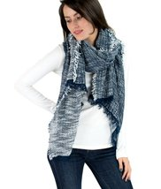 Le Nom Two Tone Twill Weave Pattern Scarf (NAVY) - $11.87