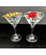 Set of 2 Etched Glass Swirl Dot Barware Martini Wine Cut Stems Clear - $24.74