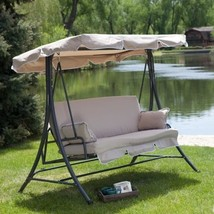 3-Person Canopy Swing Outdoor Porch Patio Furniture in Taupe - $528.02