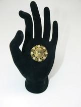 Avon Rhinestone Brooch Pendant Pin Book Piece Gold Tone Heats Green 1974 - $16.50