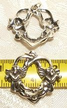 Solid Sterling Silver Oxidized Angels Playing Horns Heart Pendant Gabriel image 3