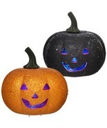 Orange & Black Glitter LED Flashing Light Pumpkin Halloween Decoration P... - £9.97 GBP