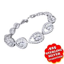 Pear Design Round Cut White Diamond Stunning Tennis Bracelet In Solid 92... - $169.99