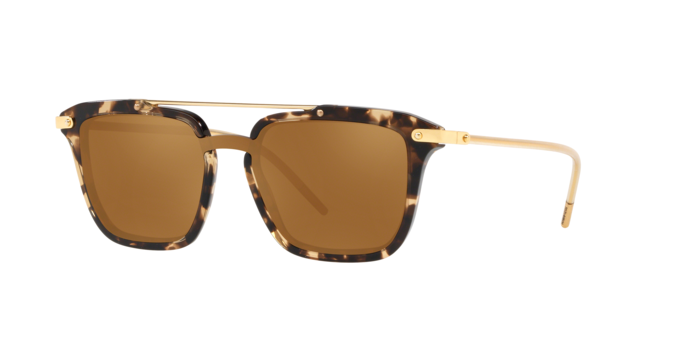 DOLCE & GABBANA PRINCE 4327 Gold Beige Havana Mirrored Sunglasses DG4327-F Men