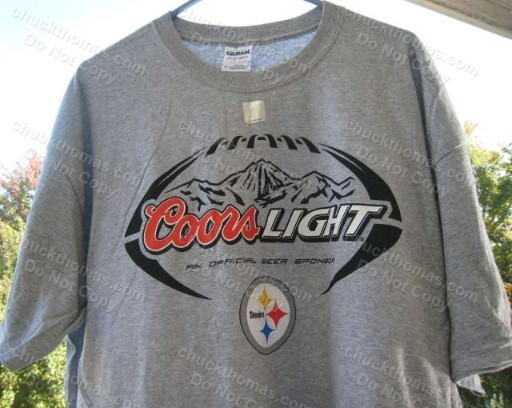 4db14a2f087 Sccoorst. Sccoorst. Pittsburgh STEELERS Football and Coors Light Logos Ash  Color NEW Tee Shirt XL