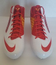 Nike Mens Vapor Speed D 3/4 Mid Football Sports Cleats Red White 668853-616 Sz14 - $31.45