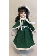 """Vintage Porcelain And  Body Fabric Doll 15"""" With Stand - $11.30"""