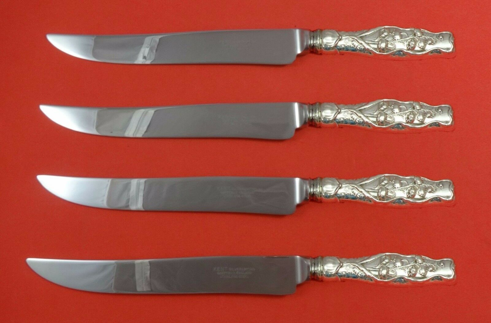 Primary image for Lily of the Valley by Whiting Sterling Silver Steak Knife Set Texas Sized Custom