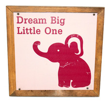 Dream Big Little One-Pink with Elephant-Wall Decor-Nursery Ready - $45.59