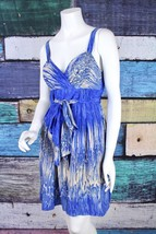 Anthropologie 4 Lil Blue 100% Silk Belted Bow Caballo Falls Empire Waist Dress  - $39.59