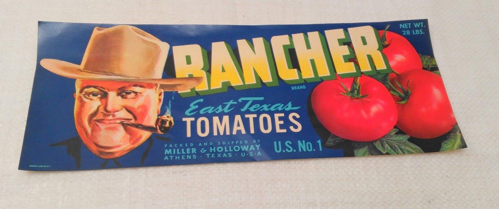 RANCHER Brand, Athens Texas *AN ORIGINAL TOMATO CRATE LABEL* 252