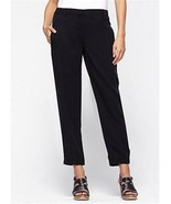 NWT Eileen Fisher Black Pants Tencel Button Tab Cuff Ankle XXS - $178.00