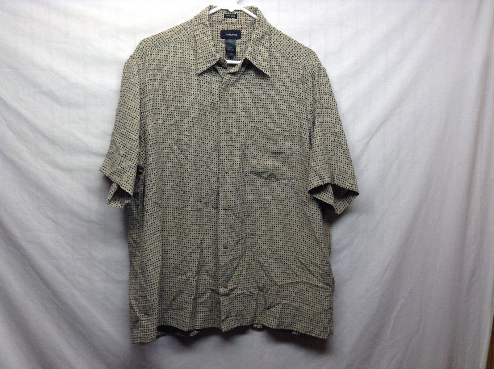 Claiborne Beige/Black Casual Short Sleeve Silk Shirt Sz LG