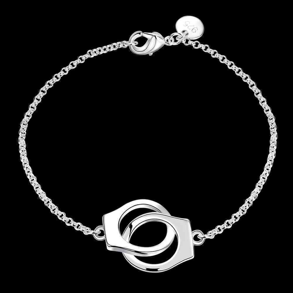 Primary image for Handcuffs Chain Bracelet 925 Sterling Silver NEW