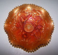 "1908 NORTHWOOD CARNIVAL GLASS Marigold Bowl Wishbone Pattern 8.5"" Dia HI... - $49.99"