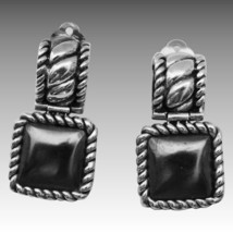 Modernist Sterling Silver Hematite Braided Rope Drop Earring $49 - $18.05