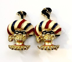 Enameled Masked Court Jester Earrings 1940s - $295.02