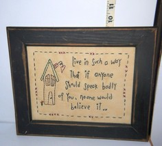 Wood Framed Homemade Needle Art w/Quote For Wall Hanging/live in such a ... - $5.60