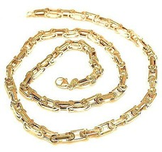 18K YELLOW GOLD CHAIN BIG ALTERNATE OVALS 7 MM, 20 INCHES, SQUARED NECKLACE - $2,199.00