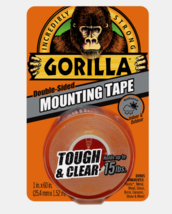 "Gorilla MOUNTING TAPE Tough Clear Double-Sided In/Out Holds 15 lbs 1"" W ... - £7.31 GBP"
