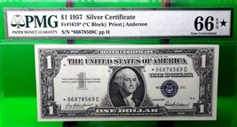 MONEY US $1 1957 SILVER CERTIFICATE PMG  GEM UNC FR#1619*  VALUE $200 - $180.00