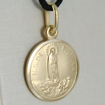 SOLID 18K YELLOW GOLD OUR LADY OF FATIMA, VIRGIN MARY ROUND MEDAL MADE IN ITALY image 2