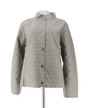 Isaac Mizrahi Brushed Back Mixed Quilted Jacket Cement XL NEW A272804 - $48.49