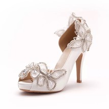 womens soft leather lace kitten heel shoes,ivory white open toe bridal shoes - $98.00