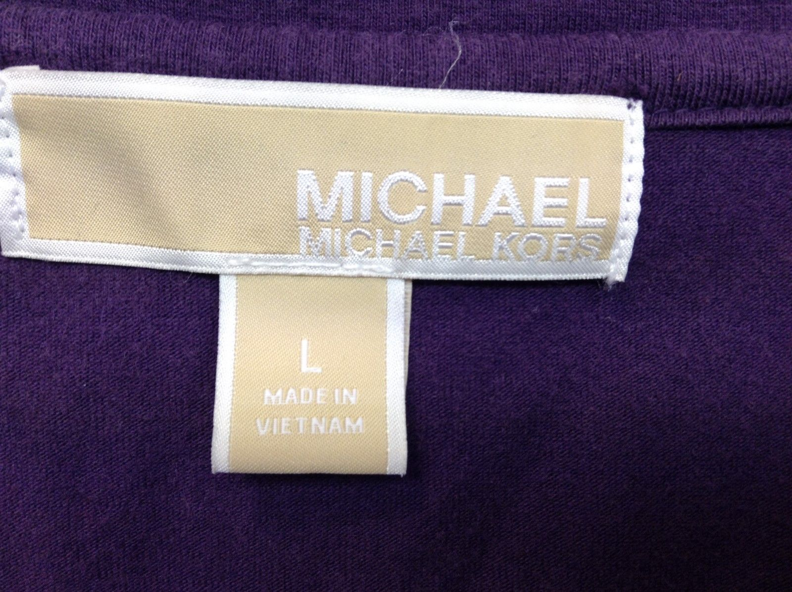 Michael Kors V Neck Purple Shirt Sz LG