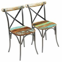 vidaXL 2x Dining Chair Solid Reclaimed Wood Metal Cafe Kitchen Cross Bac... - $194.99
