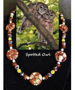 Spotted Owl custom artisan handcrafted genuine shell, yellow opal, and a... - $89.00