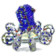 Beady Baubz Handmade Beaded Octopus Sculpture Figurine Made Zimbabwe Africa image 3