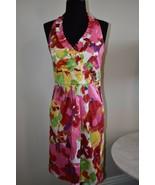 Floral Bright Colored Summer Sundress Halter Blu Sage Dress Size 6 - $18.14