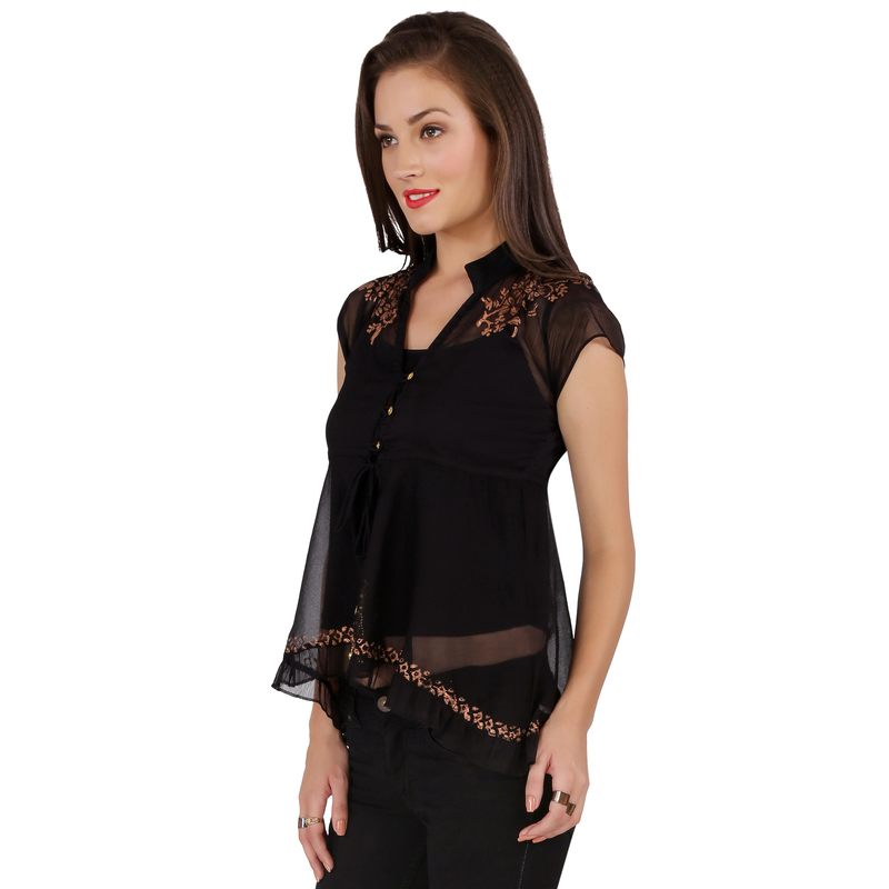 Ira Soleil black block printed poly chiffon cap sleeve womens top