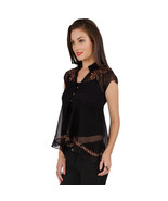 Ira Soleil black block printed poly chiffon cap sleeve womens top - $49.99