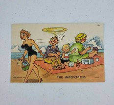 "Curt Teich Comic Linen Postcard ""The Informer"" Baby Tattles On Daddy C-847 1956 - $6.55"