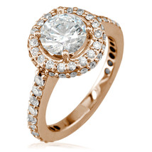 Diamond Halo Engagement Ring Setting, 0.70CT Sides in 14K Pink Gold - $2,135.00