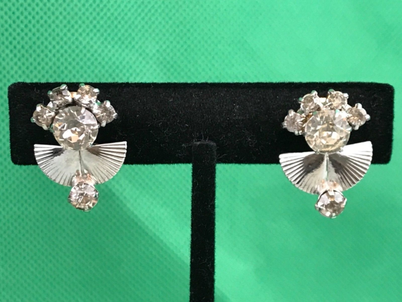 Primary image for LG Silver Tone Rhinestones Vintage Clip On Screw Back Earrings Collectible Gift