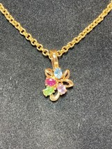 """Joan Rivers Multi Color Crystal Removable Pendant Gold Tone Chain Necklace 22"""" - $24.99"""