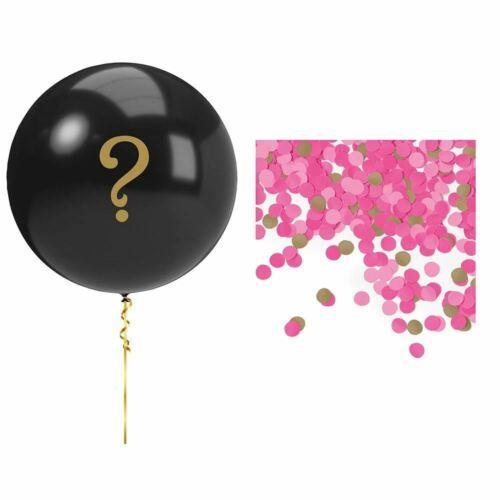 Pink Gender Reveal Balloon Kit Girl Black ? Confetti