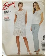 MCCALL'S 2735 TOP, Pull-ON Pants & Shorts Sewing Pattern Misses/Plus Siz... - $8.90