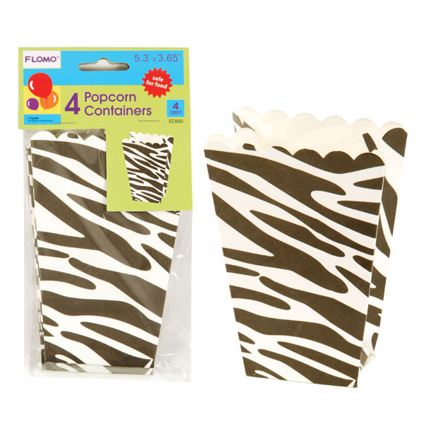 Zebra Popcorn Containers/Case of 144