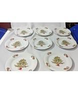 "Tienshan Holiday Christmas Tree China Desert 7.5"" Plate Lot of 8 Gold Rim - $40.00"