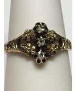 ART NOUVEAU (ca. 1904) 14K Rose Gold & Green Gold Rose Cut Diamond Ring ... - $235.00