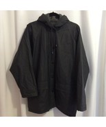 Sailmaker Flannel Lined Rain Jacket Size L Black Front Snaps Flap Pockets Hood  - $26.00