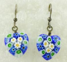 Floral MILLEFIORI Glass Heart Sterling Silver EARRINGS - Blue Yellow Gre... - $45.00